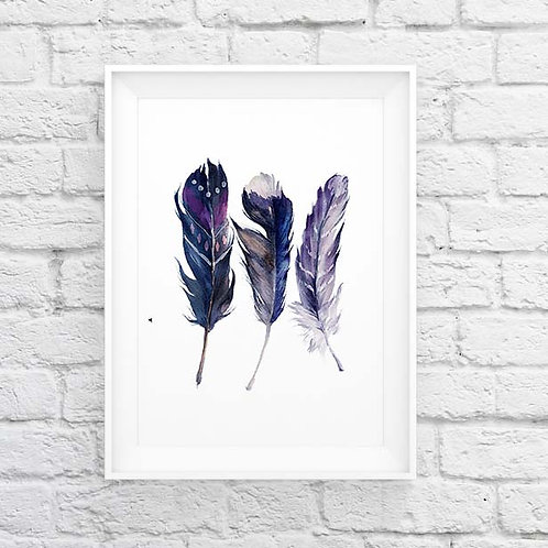 Watercolor feathers Watercolor feathers Printable art, nature art print, feathers wall art