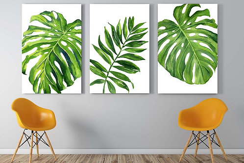 Watercolor tropical leaf art prints, monstera, palm leaf, hand painted