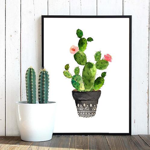 Cacti art print Printable art Watercolor cactus painting watercolor botanical decor Printable wall art watercolor cacti art h