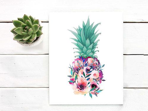 Floral Pineapple watercolor | Printable art summer painting wall art art print