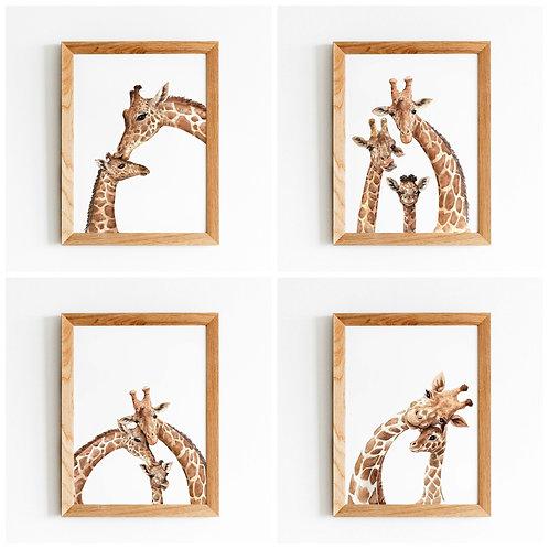Watercolor giraffe nursery art, set of four giraffe paintings