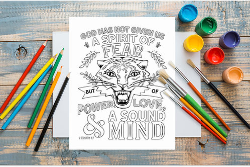 Power Love SOund Mind printable tiger coloring page | coronavirus covid19 entertainmeent