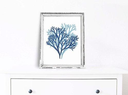 Blue watercolor seaweed coral | printable art, nautical, hamptons style ink watercolor,