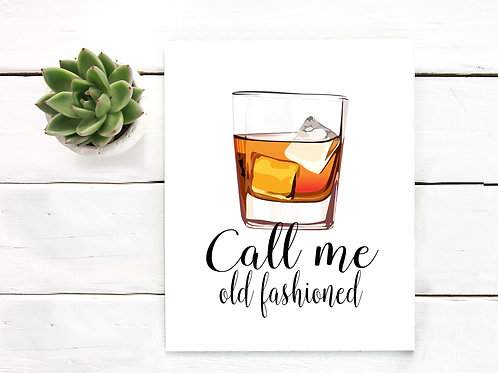 Old Fashioned Cocktail art print, Printable Bar decor, Printable cocktail poster, whiskey poster