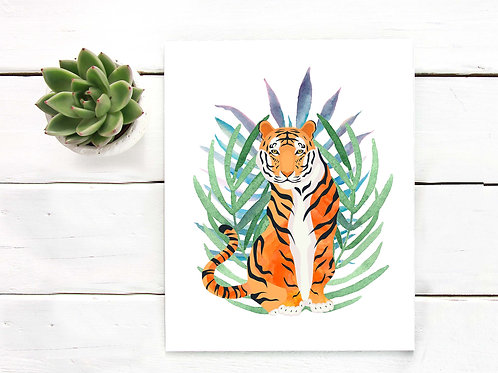 Tiger art print, tropical tiger watercolor, printable art
