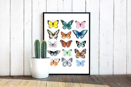 Watercolor butterfly chart | Printable art