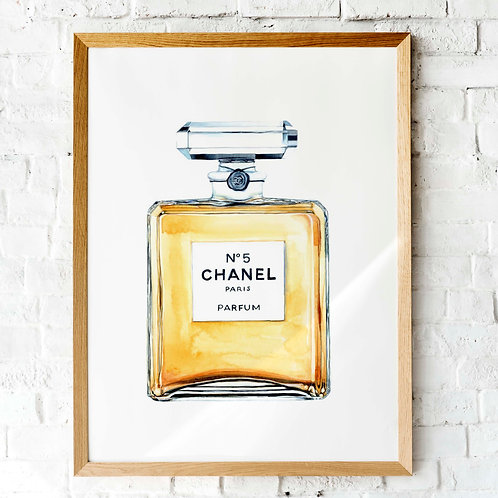 Watercolor Chanel No. 5 perfume bottle | Bedroom bathroom decor | Fashion art print Chanel