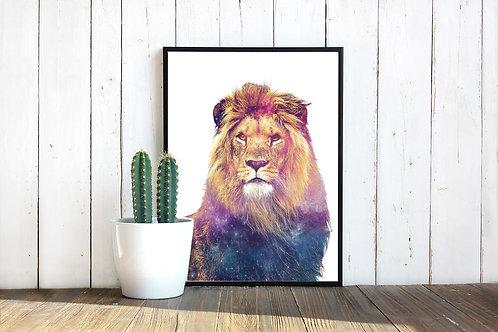 Cosmic Lion, printable poster, printable lion wall art