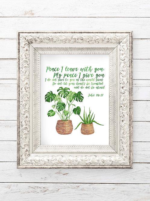 John 14v27 | Peace I leave with you | Botanical Watercolor Scripture print coronavirus fear do not be afraid christian
