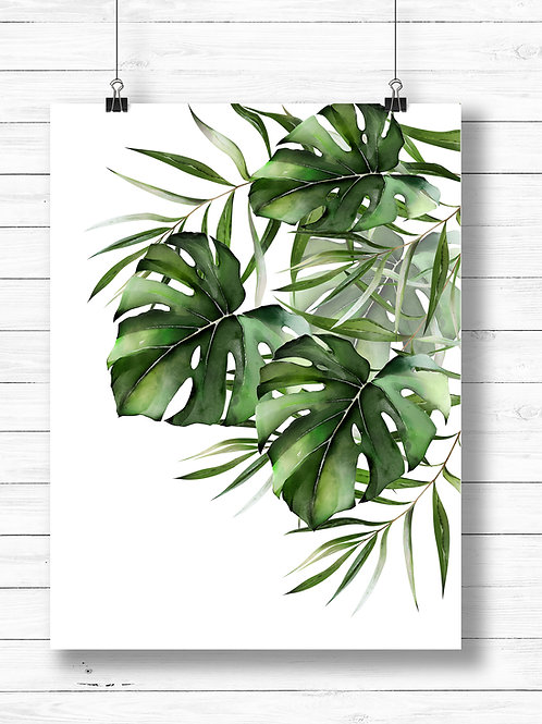 Watercolor painting of Monstera and palm leaves. Printable art
