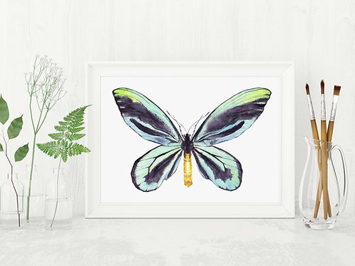Blue green watercolor butterfly printable wall art