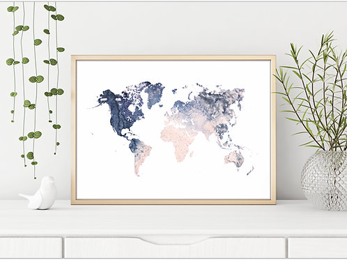 Blush navy world map, watercolor map, geography art, artwork to print and frame
