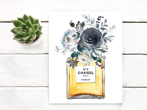 Watercolor perfume bottle Black roses printable