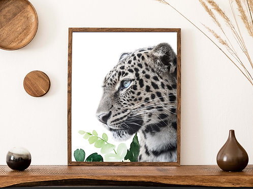 Leopard art print | Watercolor leaves | Printable art | aesthetic