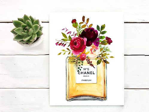 Chanel watercolor perfume bottle red roses