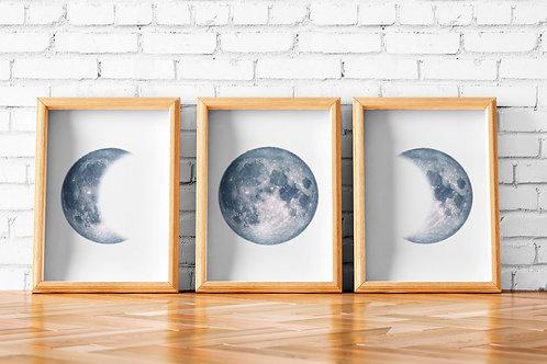 moon wall art, moon phases, full moon, watercolor moon, wall art, art print, instant download