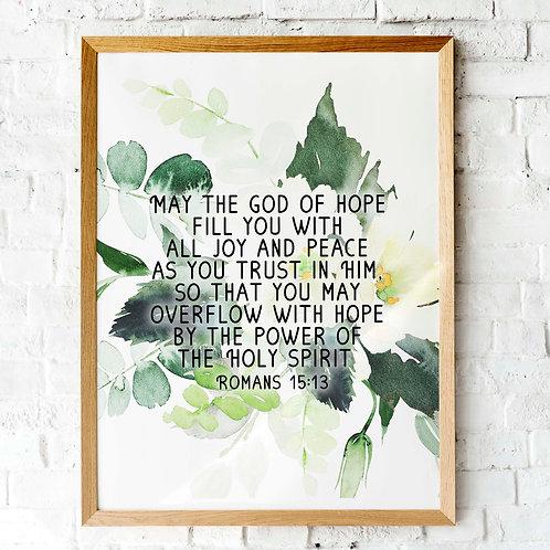 Romans 5v13 | The God of Hope | Printable botanical art