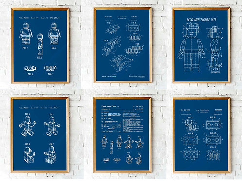 Lego patents, kids room decor, boys room, lego blueprints, printable art, printable decor