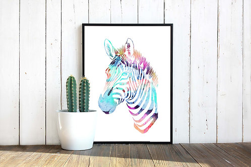 Watercolor Zebra rainbow painting