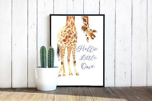 Giraffe watercolor printable art, hello little one, nursery decor