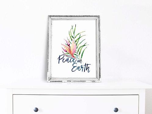 peace on earth, tropical christmas, christmas art print, holiday wall art, printable christmas