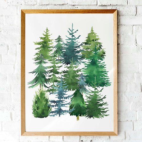 printable art, watercolor pine trees, christmas art, christmas trees
