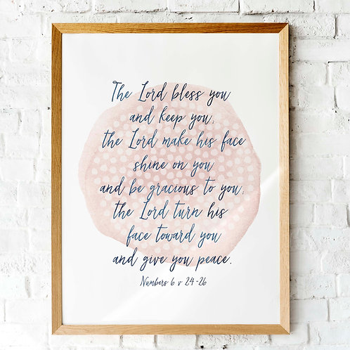 The Blessing, Numbers six, pink watercolor printable art, printable scripture, Aaron's blessing