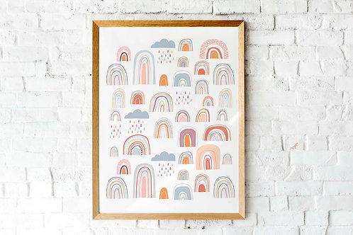 printable kids decor modern rainbow posters, terracotta neutral rainbow art