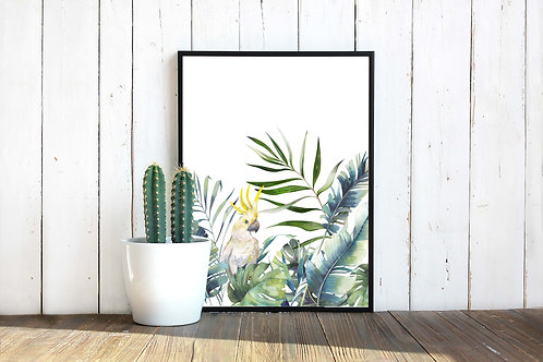 Watercolor painting of cockatiel with palms and tropical leaves