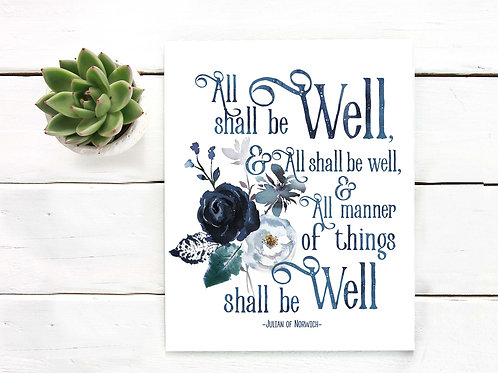 All shall be well, Julian of Norwich quote, printable art, watercolor