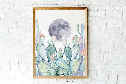 Watercolor cactus moon print | Desert moon Printable poster