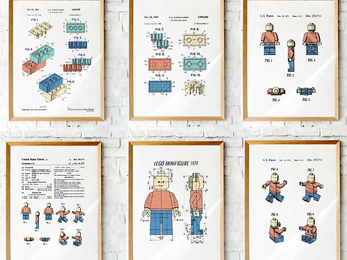 Lego Patent drawings | Set of six  printables | Kids room decor | wall art Lego minifigure toys blocks