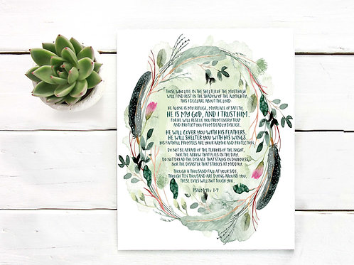 Psalm 91 printable watercolor coronavirus fear do not be afraid christian