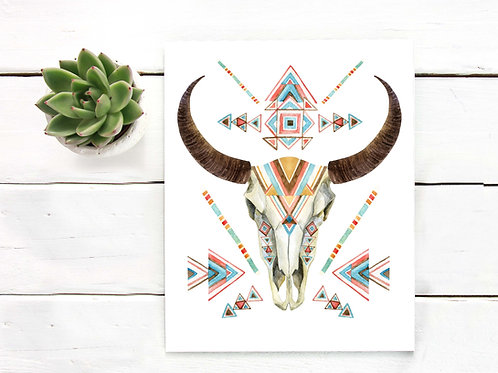 Watercolor painted bull skull | Printable art geometric modern minimalist tribal watercolor painting bull cow skull horns