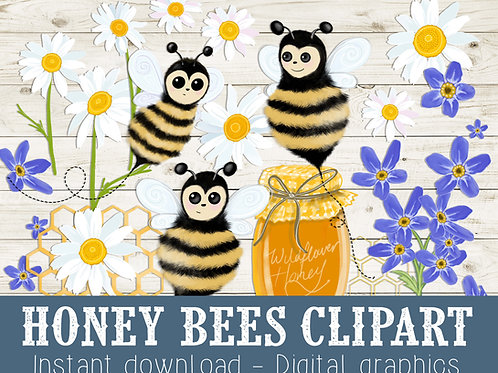 Honey bee clipart, bee graphic images, bee illustrations, daisies, forget-me-nots, Honey