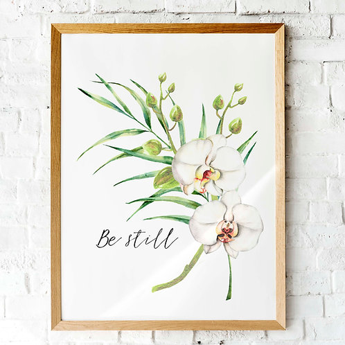 printable art, be still and know that I am God, scripture, watercolor orchids palm leaf