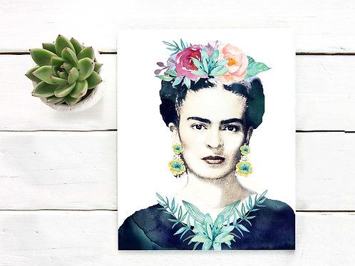 Frida Kahlo watercolor painting portrait
