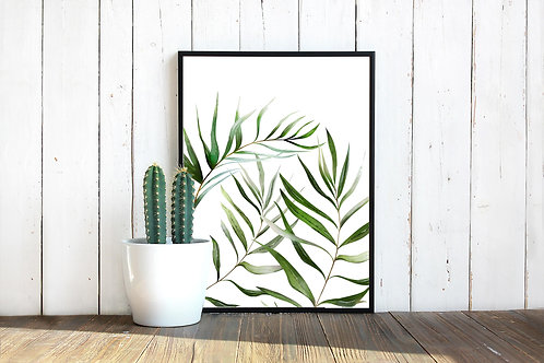 watercolor palm leaves, palm fronds, painting of palm tree