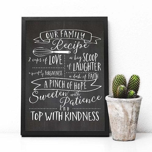 Family recipe | Chalkboard art print | Printable art, artist poster print