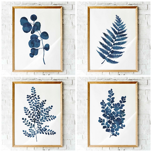Set of four blue ink fern printables | botanical wall art | ink blue ferns, Hamptons style, coastal decor