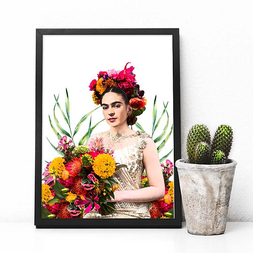 Printable art, Frida Kahlo, Mexico Artist, marigolds wall art, art print