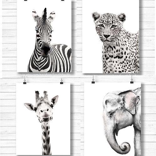 Zebra Giraffe Leopard Elephant | Printable art black and white modern minimalist