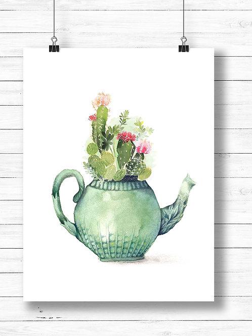 Watercolor cactus teapot | Printable art, artist poster prints