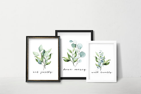 Micah 6v8 | Botanical | Act justly, love mercy, walk humbly | printable art