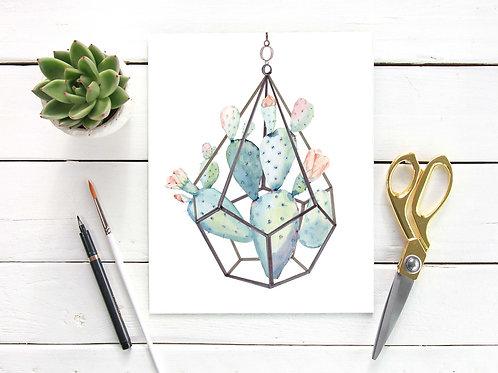 Watercolor cactus terrarium | Printable art