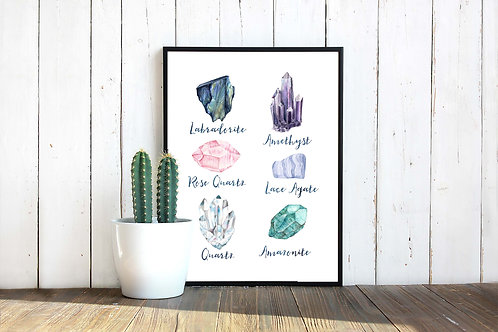 Gemstone watercolor art, art to print and frame, crystals art print