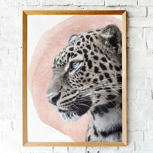 Leopard printable art | pink watercolor | neutral natural colour scheme aesthetic