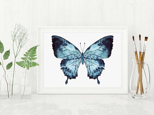 Watercolor indigo butterfly | Printable art | blue ink watercolor hand painted