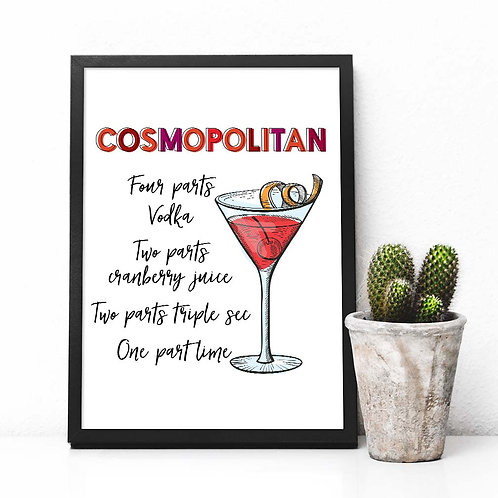 Cosmopolitan Cocktail recipe art print, Printable Bar decor