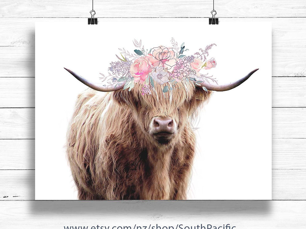 Highland cow | Flower crown | Brown cow art print | Printable art